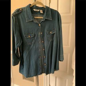 Denim Shirt 3/4 sleeve plus soft washed